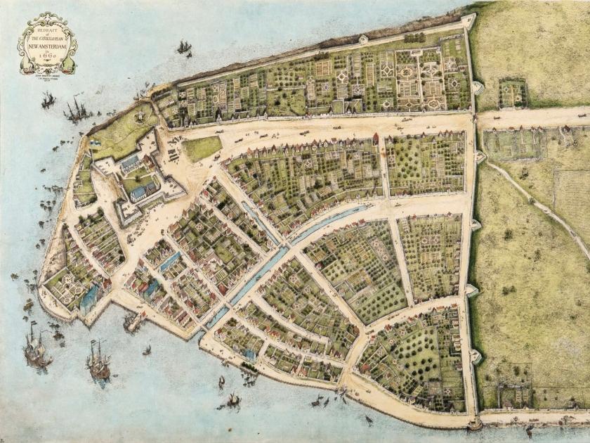 Nova Amsterdã, em 1660 - Parte sul de Manhattan
