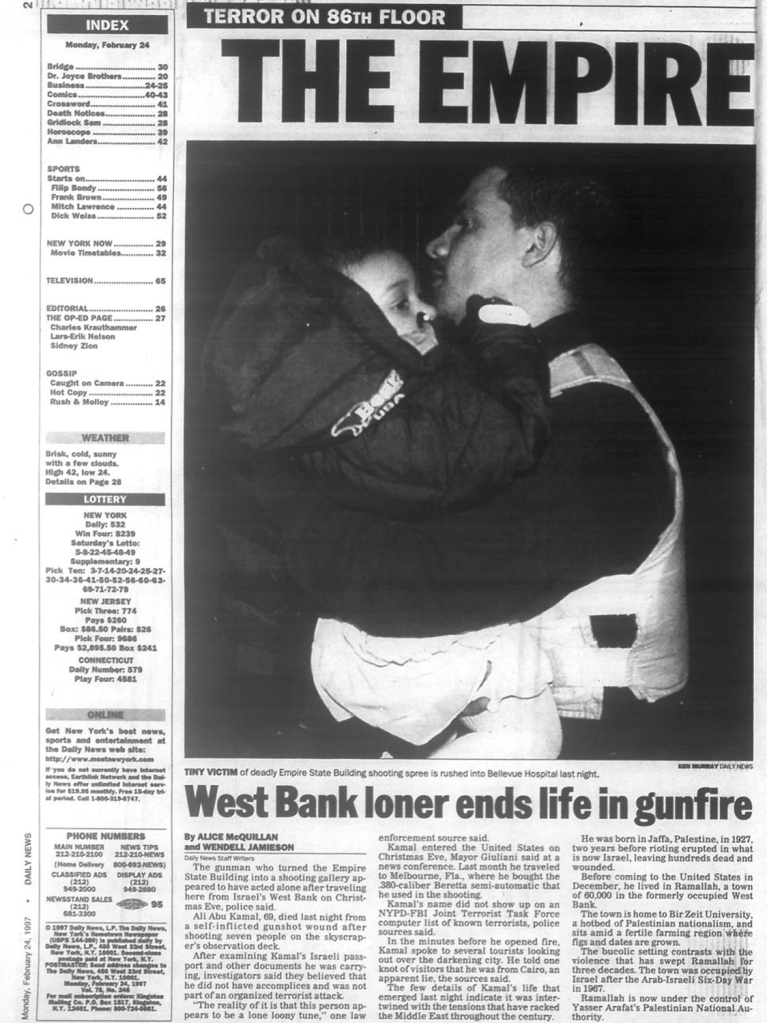 Ali Hassan Abu Kamal atirou contra turistas no observatório do Empire State Building, em 1997