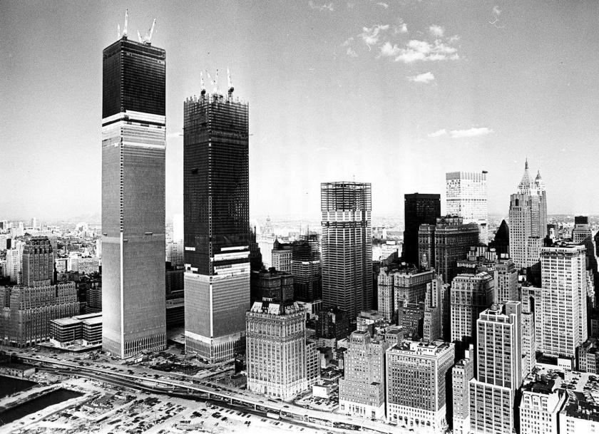 Construção do World Trade Center, no início da década de 1970