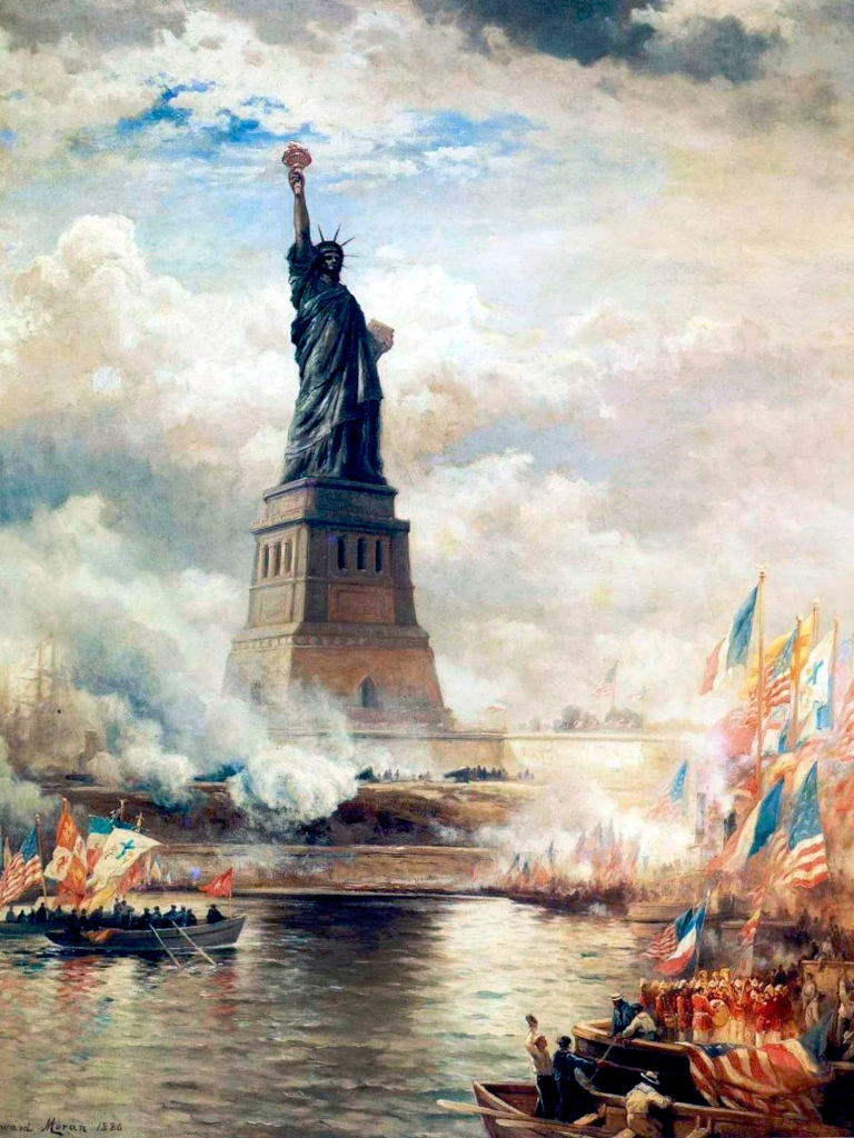 """Statue of Liberty unveiled"", pintura de Edward Moran, de 1886"