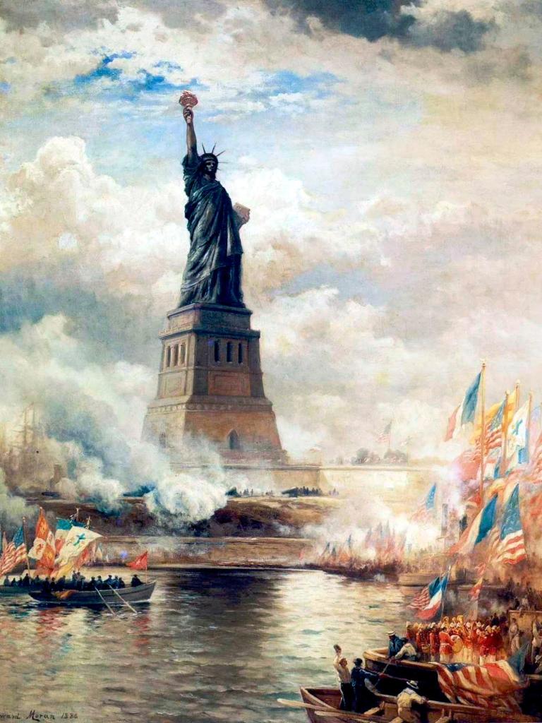 """Statue of Liberty unveiled"", pintura de Edward Moran, de 1886"