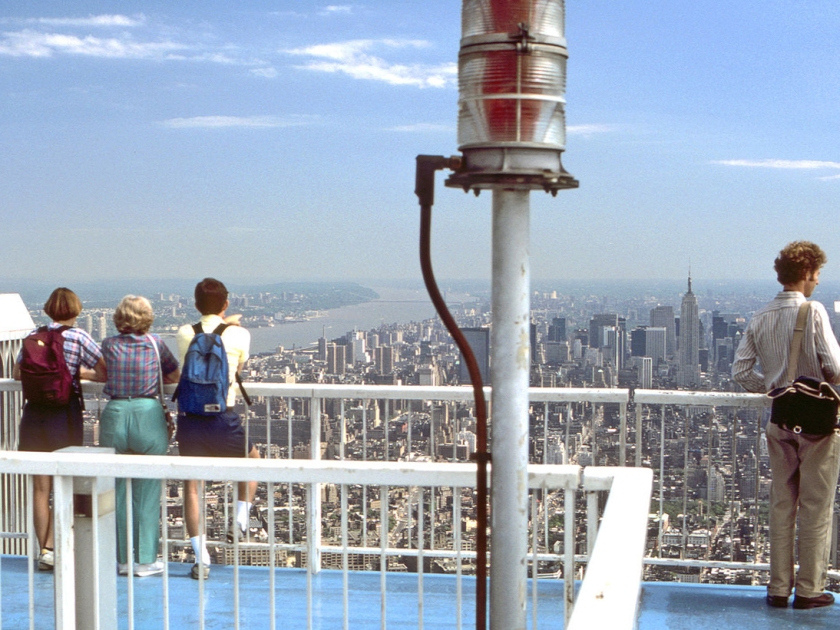 Turistas no observatório do World Trade Center, em 1984
