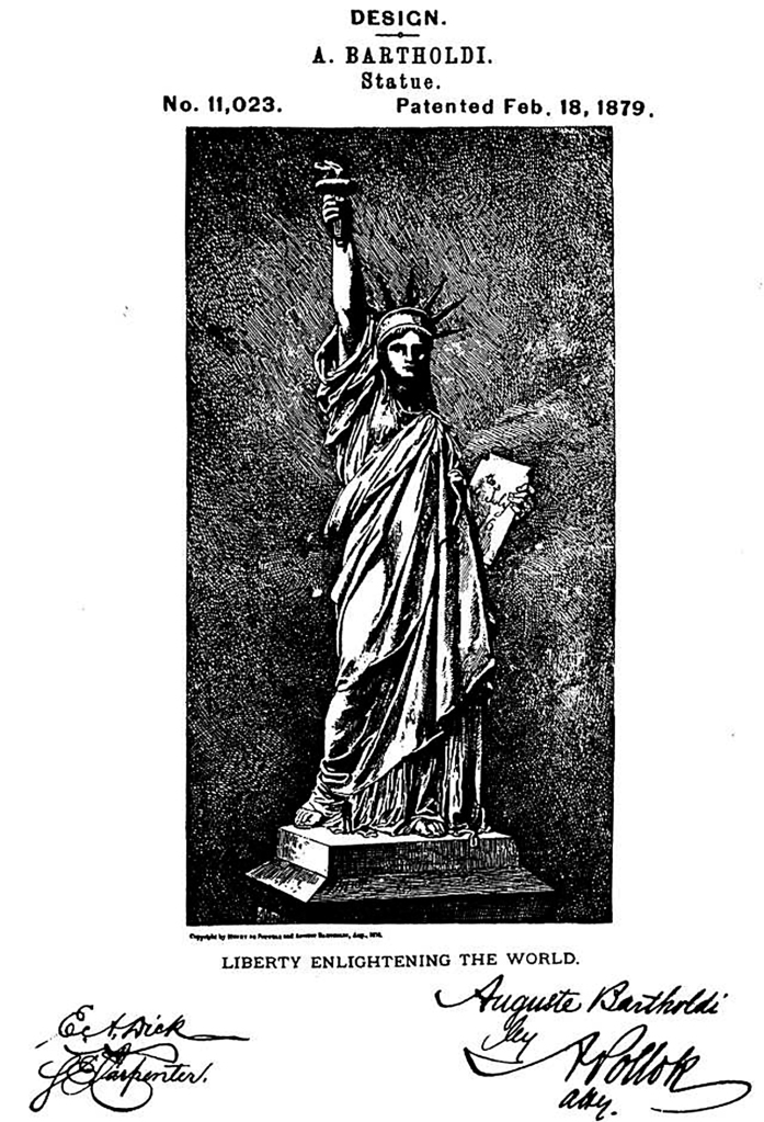 Patente americana do projeto da Estátua da Liberdade