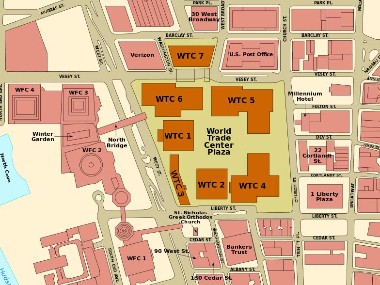 Mapa com a disposição dos prédios do World Trade Center