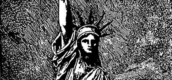 Detalhe do desenho da Estátua da Liberdade