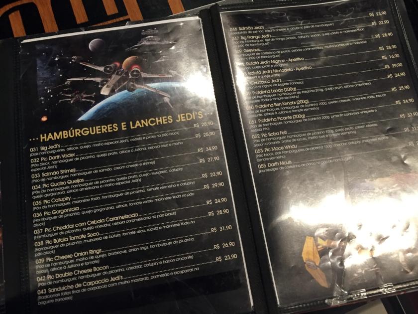Cardápio do Jedi's Burger & Grill