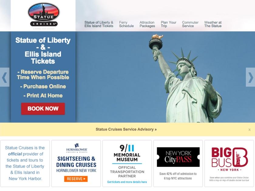 Site oficial para compra de ingressos dos passeios para a Estátua da Liberdade