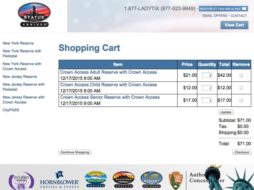Carrinho de compras no site de ingressos para a Estátua da Liberdade