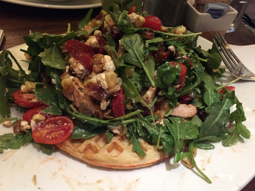 Chicken and Goat Cheese Waffle Salad