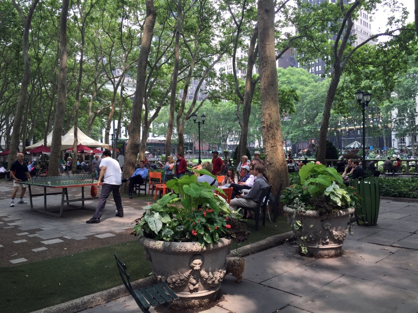 Mesas de ping pong no Bryant Park