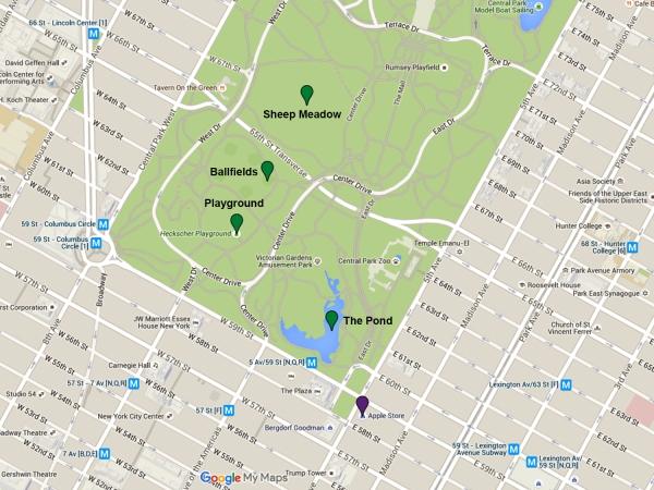 Mapa da parte sul do Central Park