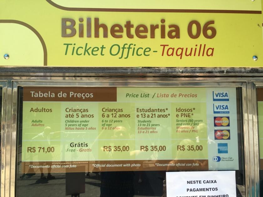 Tabela de preços na bilheteria do Bondinho em 2015