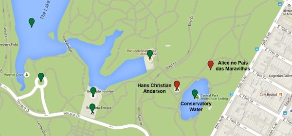 Mapa da região do Conservatory Water