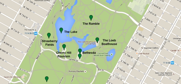 Mapa da região do The Lake, no Central Park