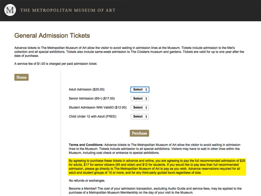 Página de compra de ingressos para o Metropolitan