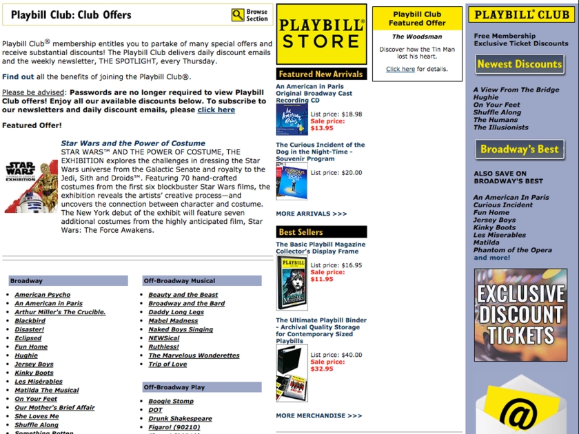 Playbill, página com cupons de desconto para Broadway
