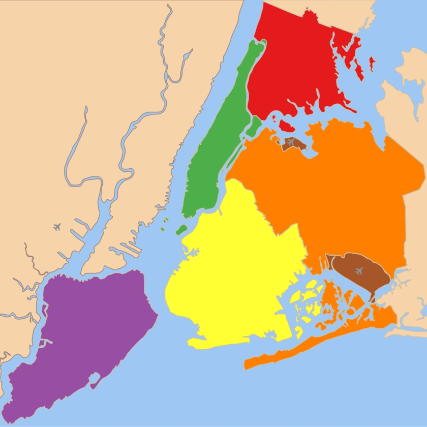 Divisão de Nova York em cinco boroughs | Wikimedia Commons