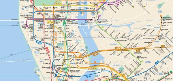 Mapa das linhas de metrô de Nova York