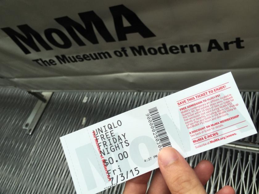 Ingresso para acesso gratuito ao MoMA