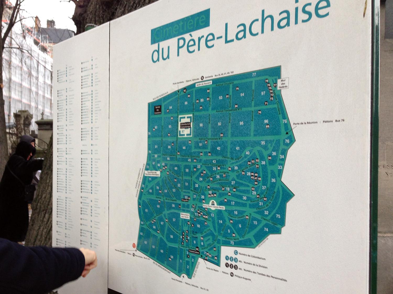 Mapa do Cimetière du Père-Lachaise