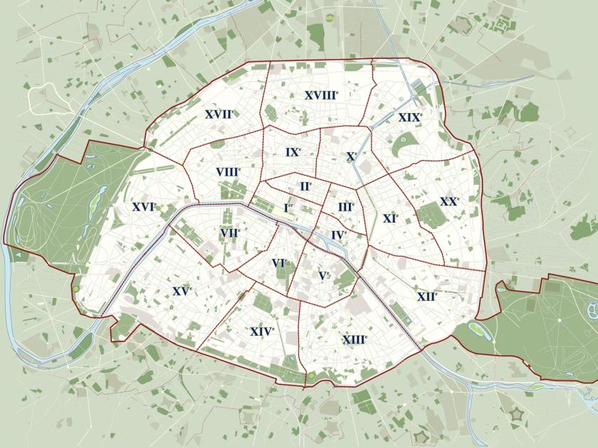 Divisão de Paris em arrondissements | Foto: The Promenader