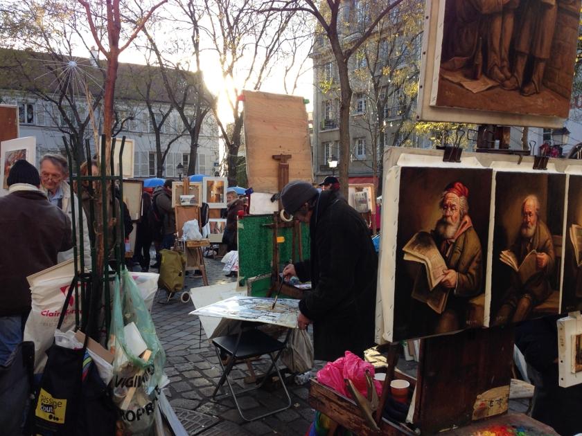 Pinturas no atelier ao ar livre