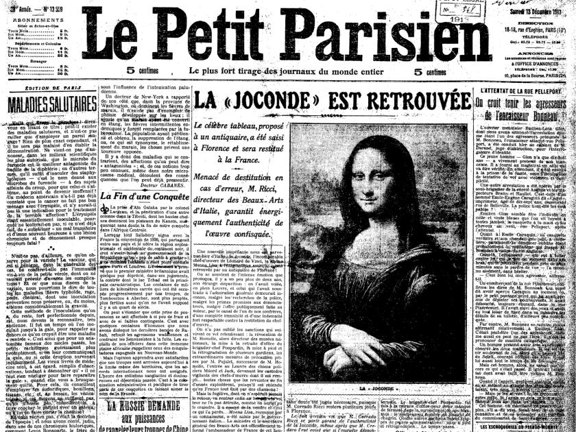 Jornal noticia recuperação da Mona Lisa