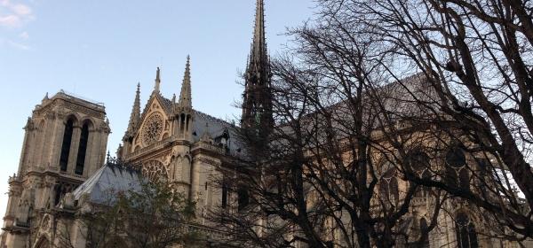 Vista lateral da Cathédrale Notre-Dame de Paris