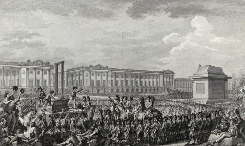 Execução de Louis XVI em 1793 | Ilustração: Charles Monnet