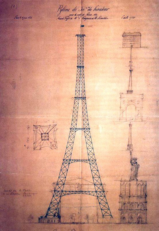 Primeiro desenho da torre Eiffel, em 1884 | Projeto: Maurice Koechlin