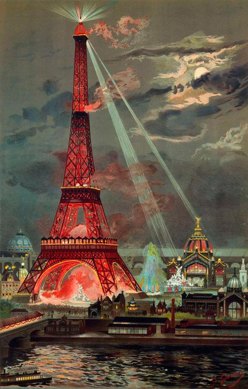 A queima da Torre Eiffel durante a Exposição Mundial de 1889 | Ilustração: George Garen