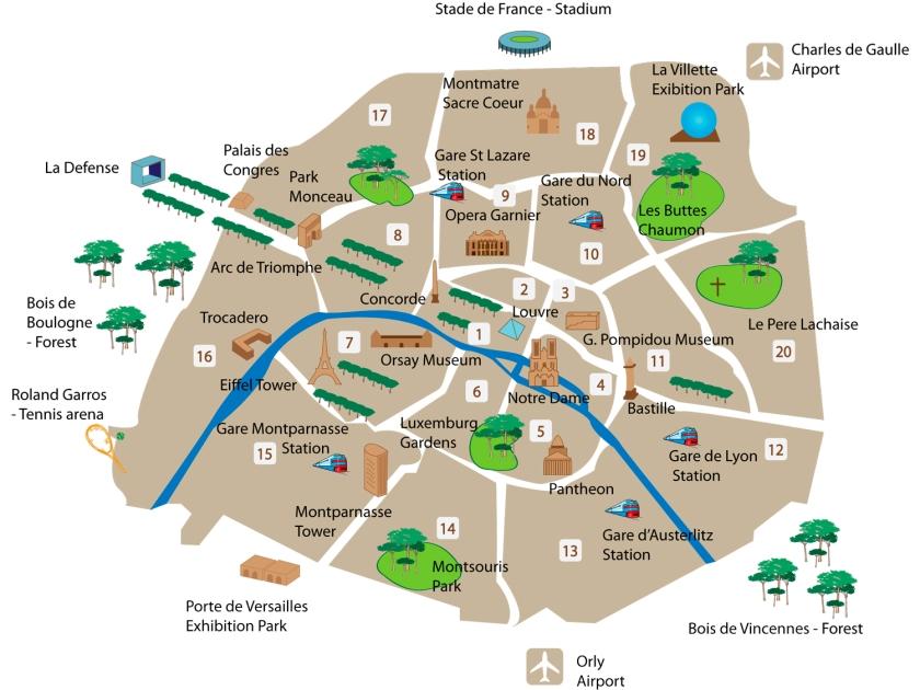 Pontos turísticos no mapa dos arrondissements de Paris
