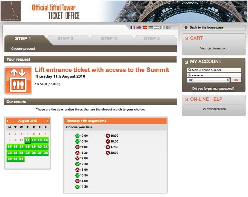 Bilheteria online da Torre Eiffel