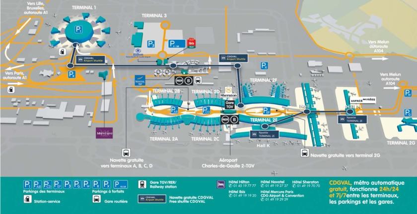 Mapa do Aeroporto Paris-Charles de Gaulle