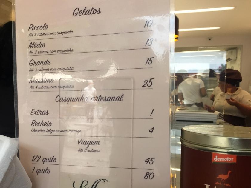 Preços dos gelatos