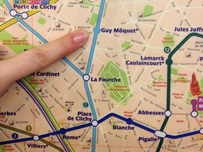 Mapa das estações de metrô