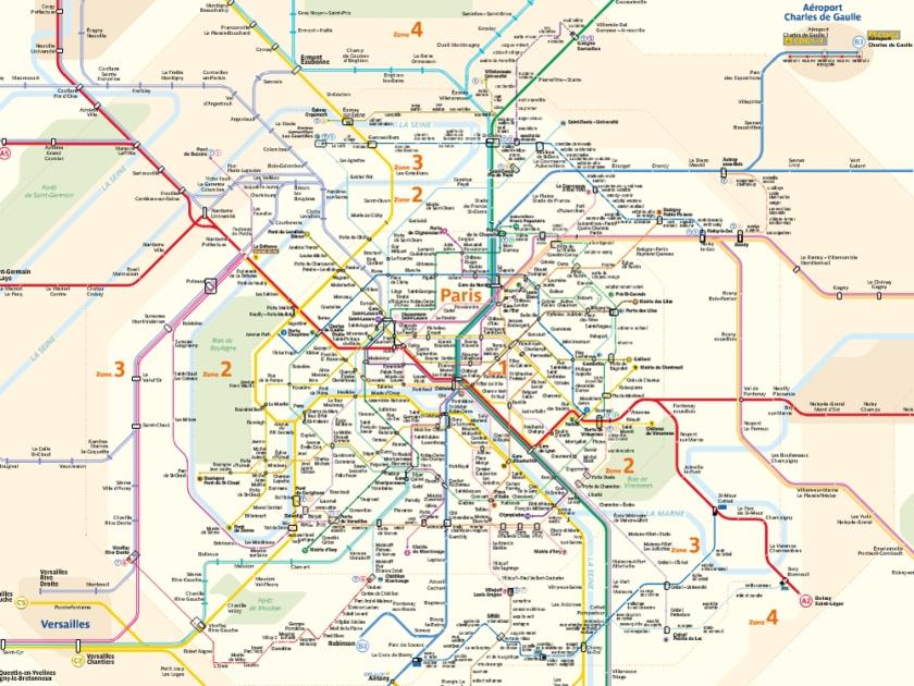 Mapa do metrô de Paris dividido em zonas