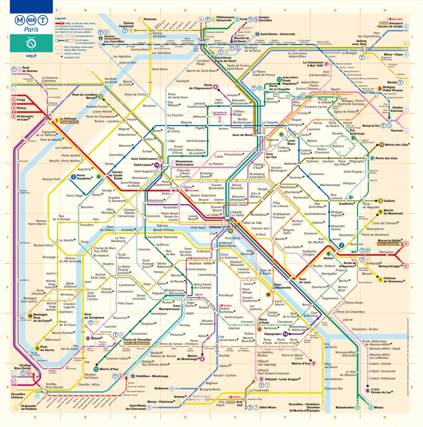 Mapa completo do metrô de Paris