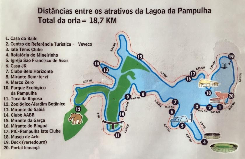 Mapa das atrações na orla da Lagoa da Pampulha