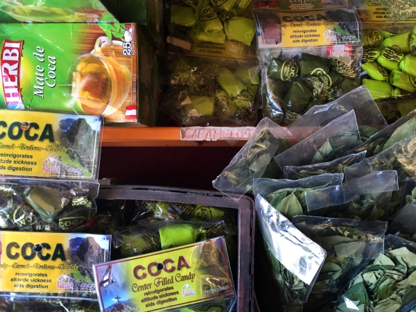 Produtos de coca na feira