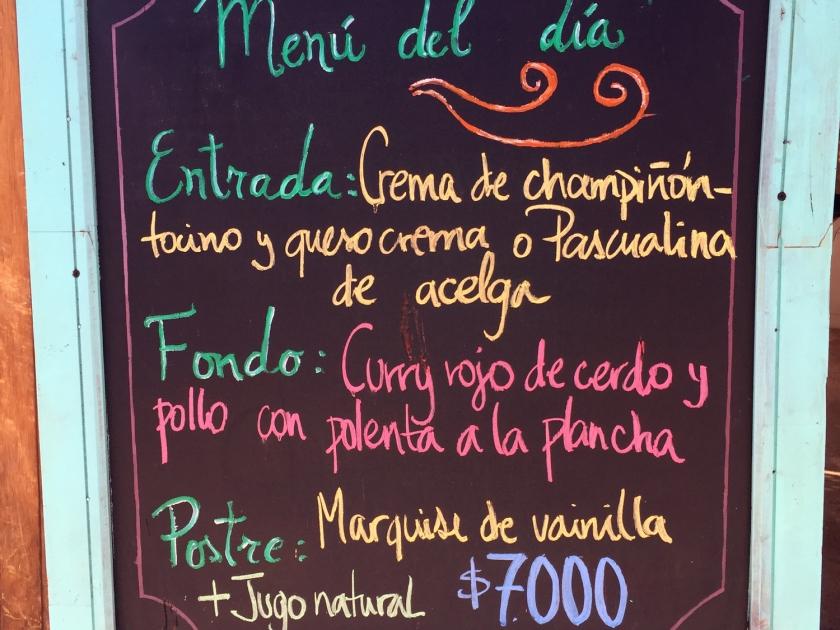 San Pedro de Atacama, restaurante menu
