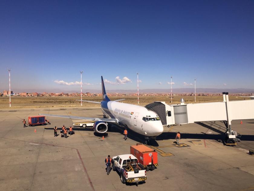 Chegada no aeroporto com a Boliviana de Aviación