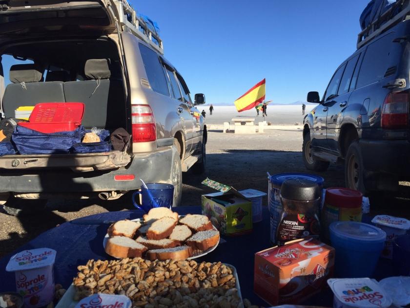 Café da manhã na Isla Incahuasi