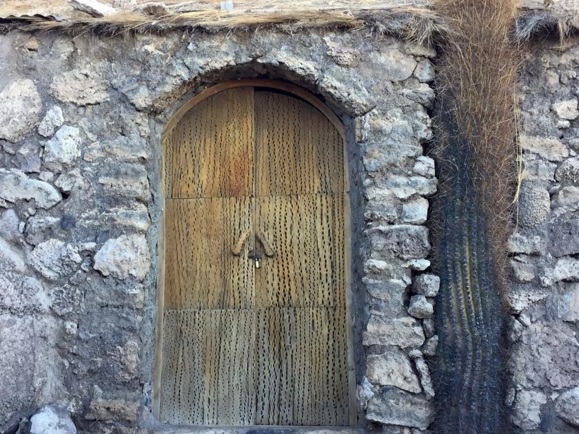 Porta com madeira de cactos