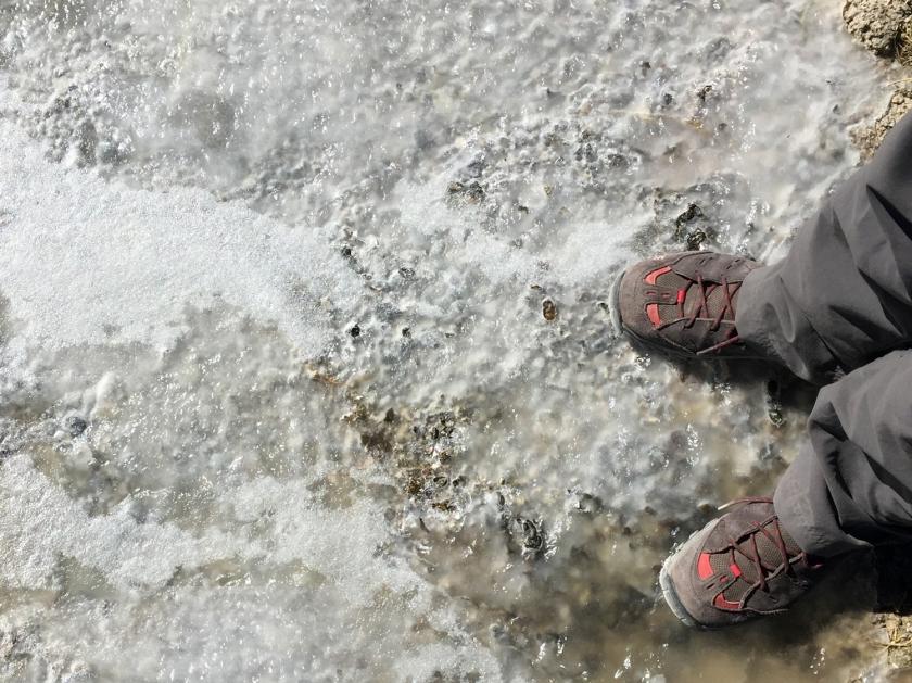 Águas congeladas da Laguna Blanca