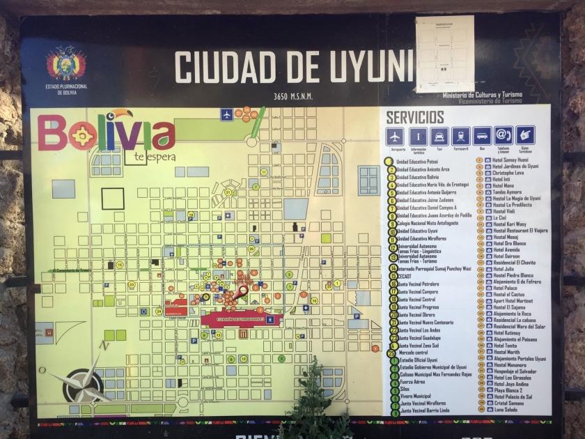 Mapa da cidade de Uyuni