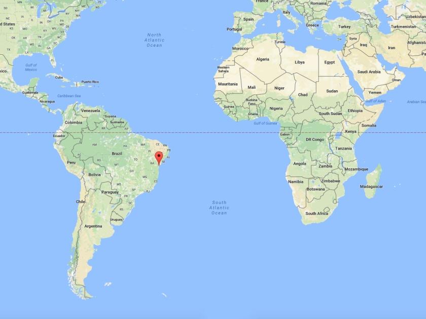 Localização de Morro de São Paulo no Mapa Mundi