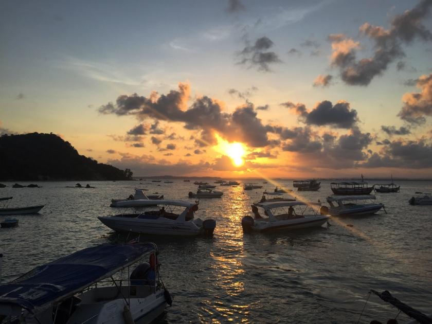 Pôr-do-sol no fim do passeio