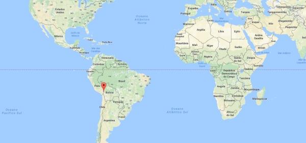 Localização de Copacabana no Mapa Mundi