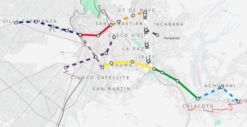 Mapa dos teleféricos de La Paz em 2016